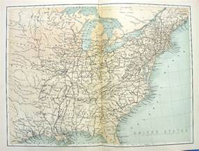 1880 engraved color print map of east coast eastern united