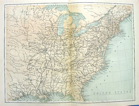 eastern us map 1880 engraved color print map of east coast eastern united states 13 colonies ebay