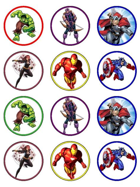 printable marvel stickers avengers cupcake toppers tempting toppers carousel