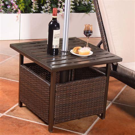 outdoor wicker console table brown rattan wicker steel side table outdoor furniture