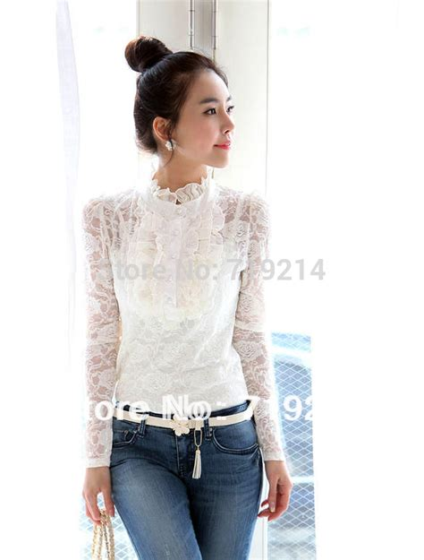 Rf Blouse Vlong Neck beautiful white high neck blouse new with sleeve lace
