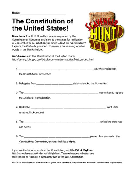 Constitution Worksheet Pdf by Sh Ws Constitution Pdf Education World