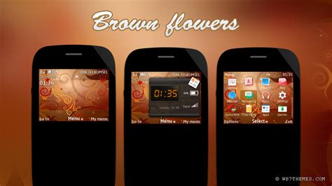 themes com nokia 200 brown flower bright theme asha 302 asha 200 asha 200