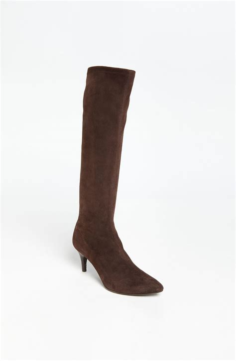 womens brown suede boots delman s lilia boot in brown brown suede lyst