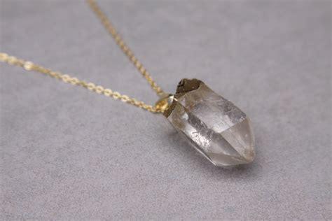 Quartz Necklace Gold Handmade Jewelry