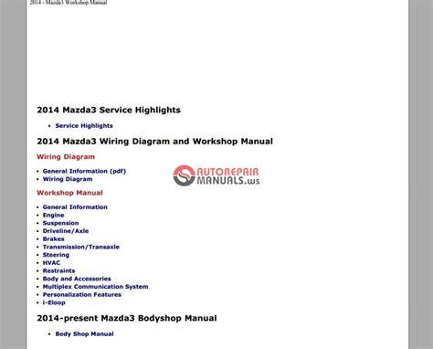 mazda 3 2014 workshop repair service manual auto repair