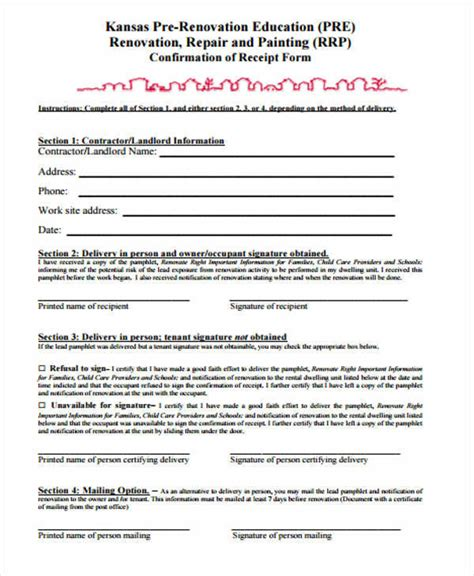9 contractor receipt template free sle exle