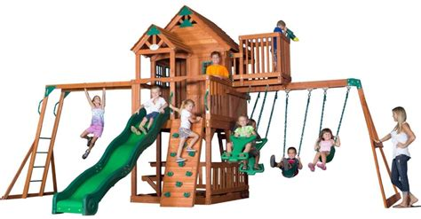 skyfort ii cedar swing set 9 unbeatable wooden swing sets for solid backyard fun