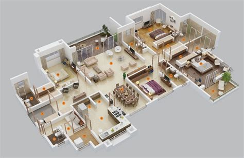 Two Bedrooms 50 four 4 bedroom apartment house plans architecture