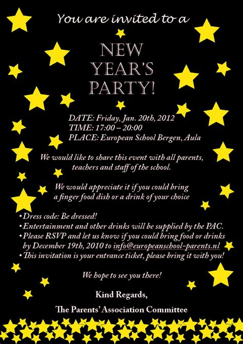 Invitation Letter New Year 9 Best Images Of New Year S Invitation Wording New Year S Invitation Wording