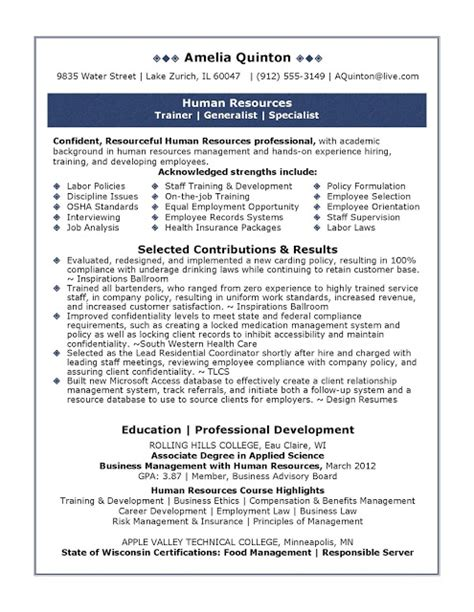 Resume Template Human Resources Sle Human Resources Resume Sle Resumes