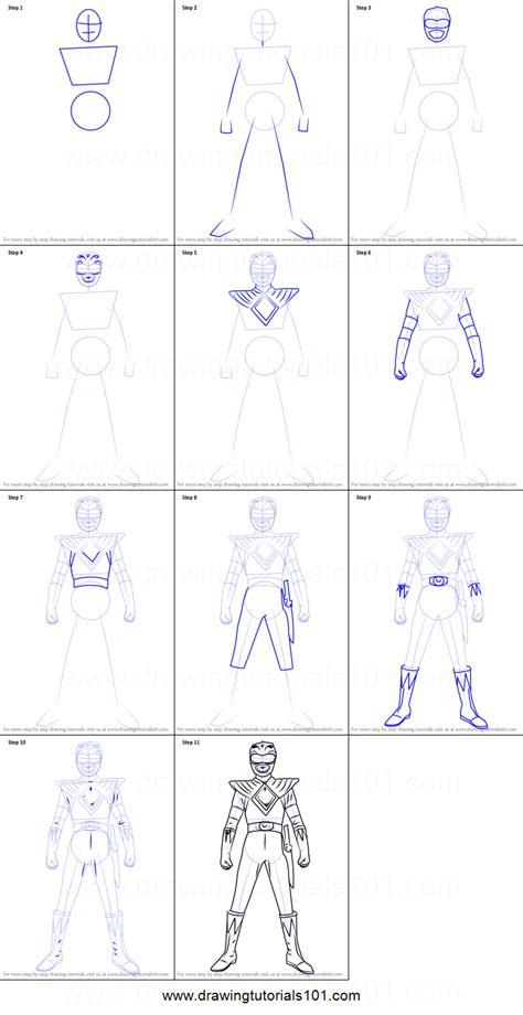 doodle how to make energy how to draw green ranger from power rangers printable step