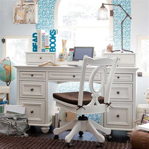 Bedroom Study Room Design For Teenage Using White Desk And White Painted Desk