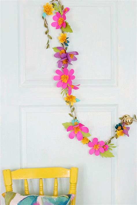 Garland With Paper Flowers - flower paper garland allfreeholidaycrafts