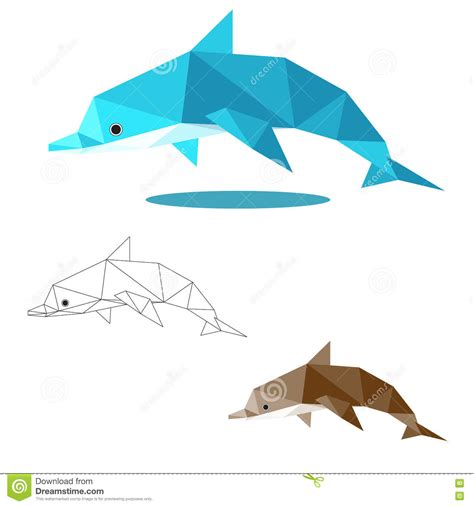 how to make origami dolphin dolphin low polygon stock vector image of animal simple