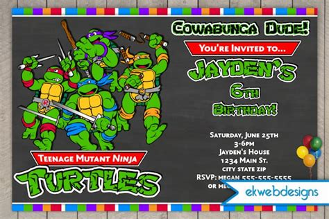 tmnt birthday card template turtle birthday invitations drevio