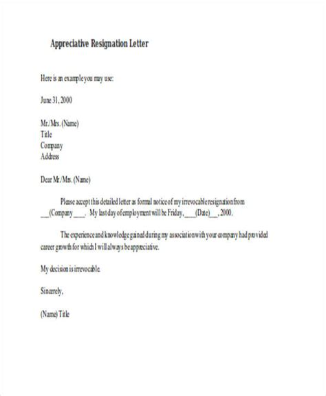 Appreciative Resignation Letter by 49 Resignation Letter Exles
