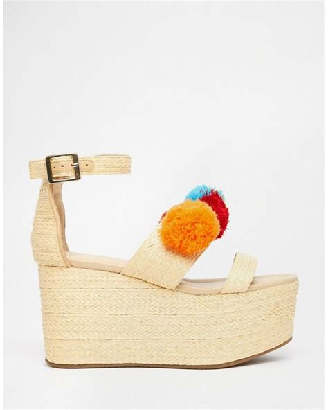 Wedges Pom Pom by Asos Together Pom Pom Wedge Sandals In Multicolor Multi