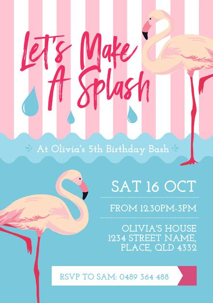 Pink Flamingo And Water Pool Party Invitation Template Flamingo Invitation Template Free