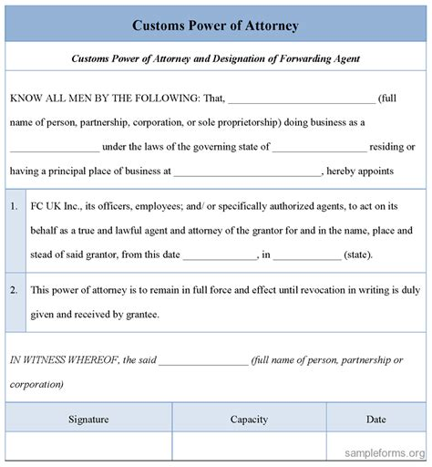 customs power of attorney template power of attorney revocation document best mesothelioma
