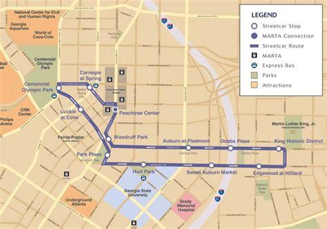 street map of downtown atlanta georgia atlanta streetcar map and destinations marta guide