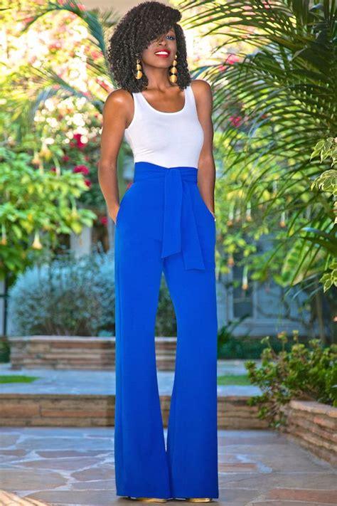 Highwaist Electric Blue Highwaist Punny bodysuit tank high waist belted wide leg style pantry wide leg wide leg and