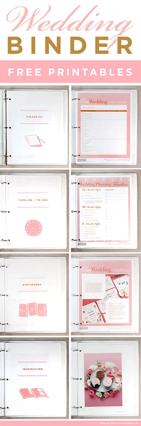 Free Printables Wedding Planning Binder Blog Botanical Paperworks Free Printable Wedding Planner Templates