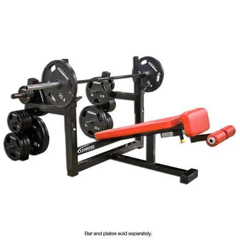 bench press plates decline olympic bench press w plate storage legend