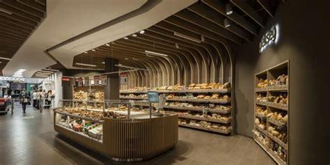 Rak Dinding Toko didominasi kayu supermarket til cantik alami kompas