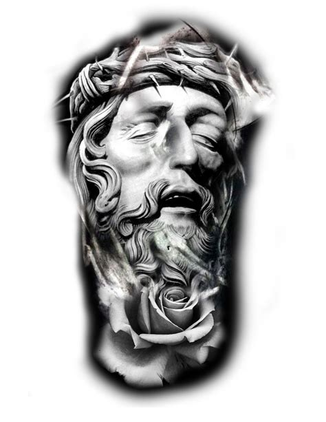 tattoovorlagen jesus jesus religious and rose tattoo idea 欧美写实手稿 pinterest