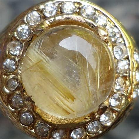 Cincin Batu Akik Bulu Macan Kecil cincin mustika kecubung rambut emas pusaka dunia