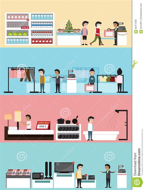 interior design layout sle flat cartoon department store mall building interior