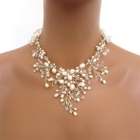 braut collier bridal freshwater pearl necklace set wedding jewelry set