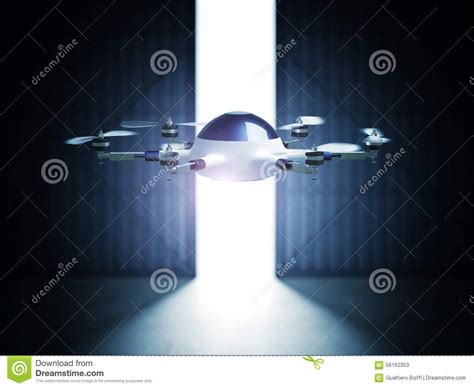 futuristic doors drone in hangar stock illustration image 56162353