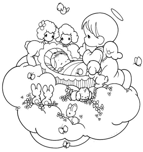 baby angel coloring page guardian angel taking care a baby coloring pages
