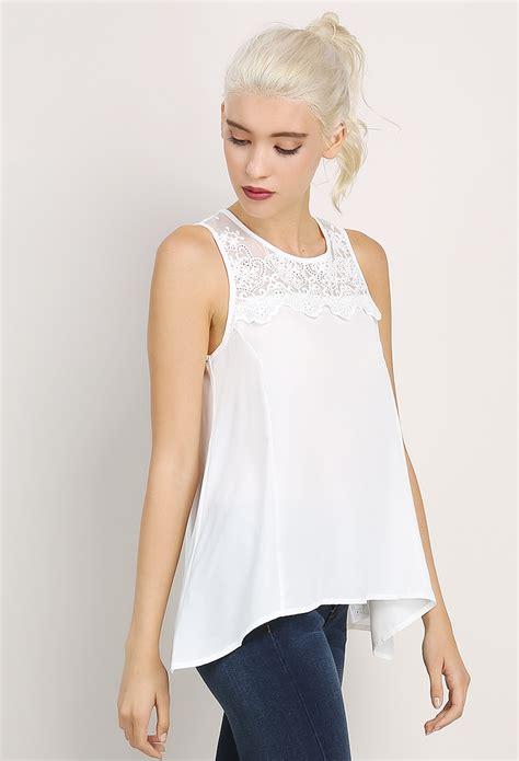 Top Atasan Blouse Wanita 1 lace accented sleeveless top shop blouse shirts at papaya clothing