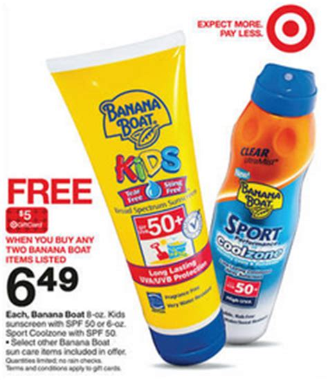 below the boat coupon target banana boat sunscreen as low as 0 62 each