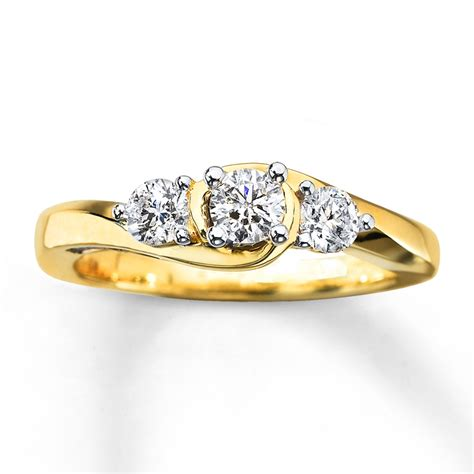 3 ring 3 4 ct tw cut 10k yellow gold