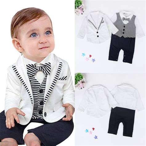 2pcs Baby Boy Clothes 2pcs toddler kid baby boy gentleman suit coat romper