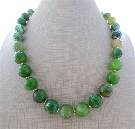 Green agate necklace, jade necklace, stone choker, beaded