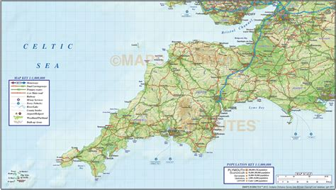 map of south west south west county road rail map with regular