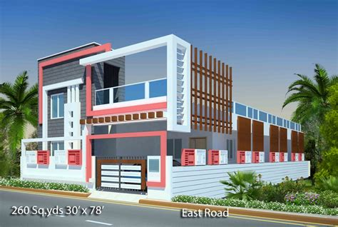 home elevation design app way2nirman 260 sq yds 30x78 sq ft east face house 3bhk