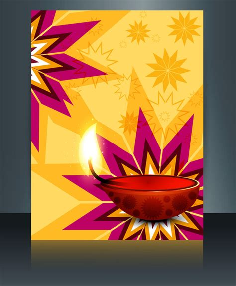 Diwali Card Templates Free by Vector Beautiful Diwali Celebration Brochure Card Template