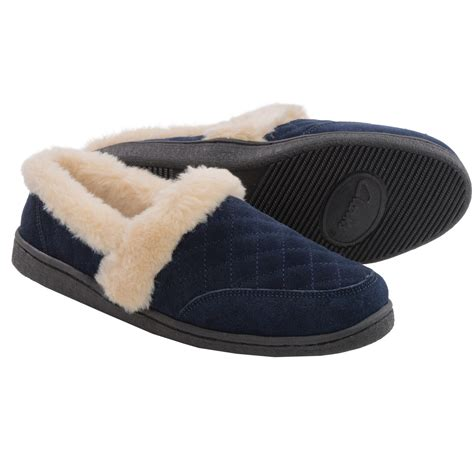 womans slippers clarks quilted suede slippers for in navy
