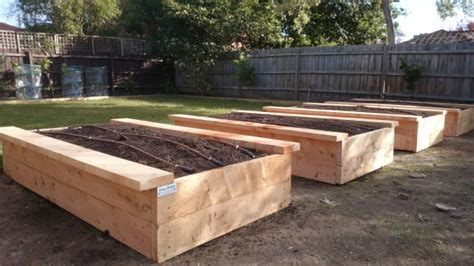 Sleeper Vegetable Garden by Sustainable Cypress Sleepers For Garden Beds