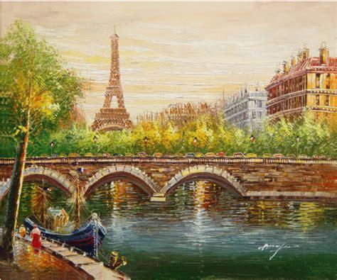 paris harbor bridge hand painted oil painting