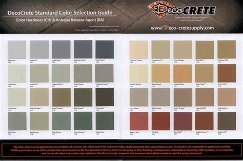 np1 color chart k l sted concrete deco crete supply