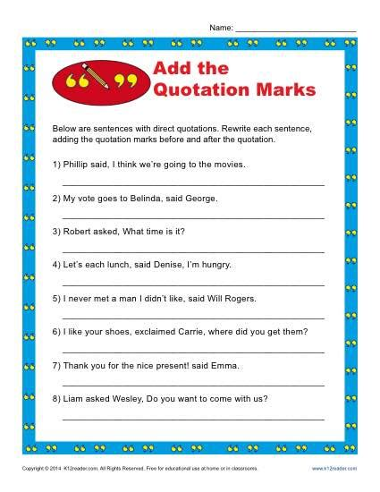add the quotation marks worksheet punctuation worksheets