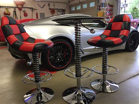 automotive themed bar stools two comfy checkered bar chairs and compact high top table