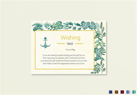 Wishing Well Cards Free Templates by Nautical Wishing Well Card Template In Psd Word